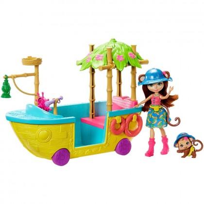 Enchantimals Junglewood Boat & Merit Monkey Doll