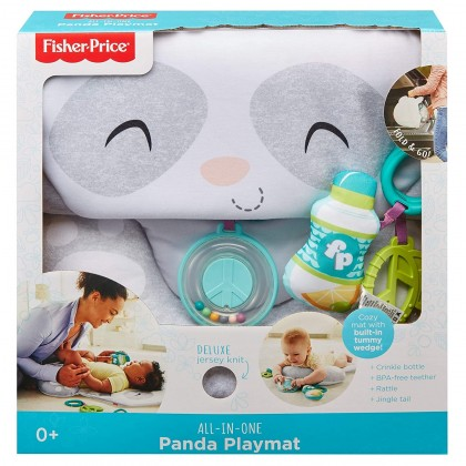 (Online Exclusive) Fisher Price All-in-One Panda Playmat, Plush Tummy Time Mat with Toys
