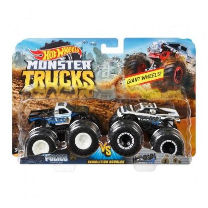 Hot Wheels Monster Trucks 1:64 Demolition Doubles Police VS Hooligan Giant Wheels (FYJ64)