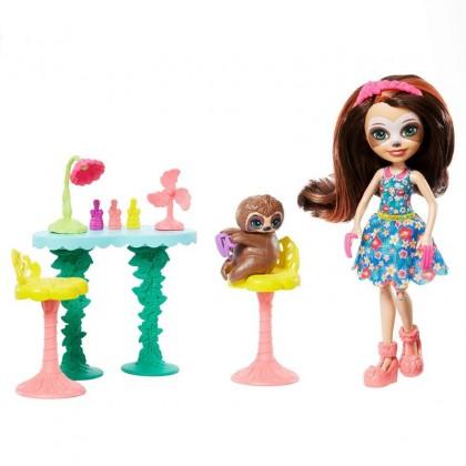 Enchantimals Slow Down Salon And Animal Friend Sela Sloth (FCC62)