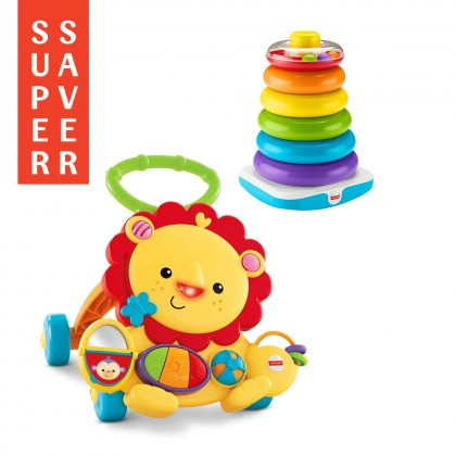 Fisher Price Bundle Musical Lion Walker and Giant Rock-A-Stack