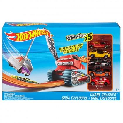Hot Wheels Crane Crasher & 5 Vehicles Play Set